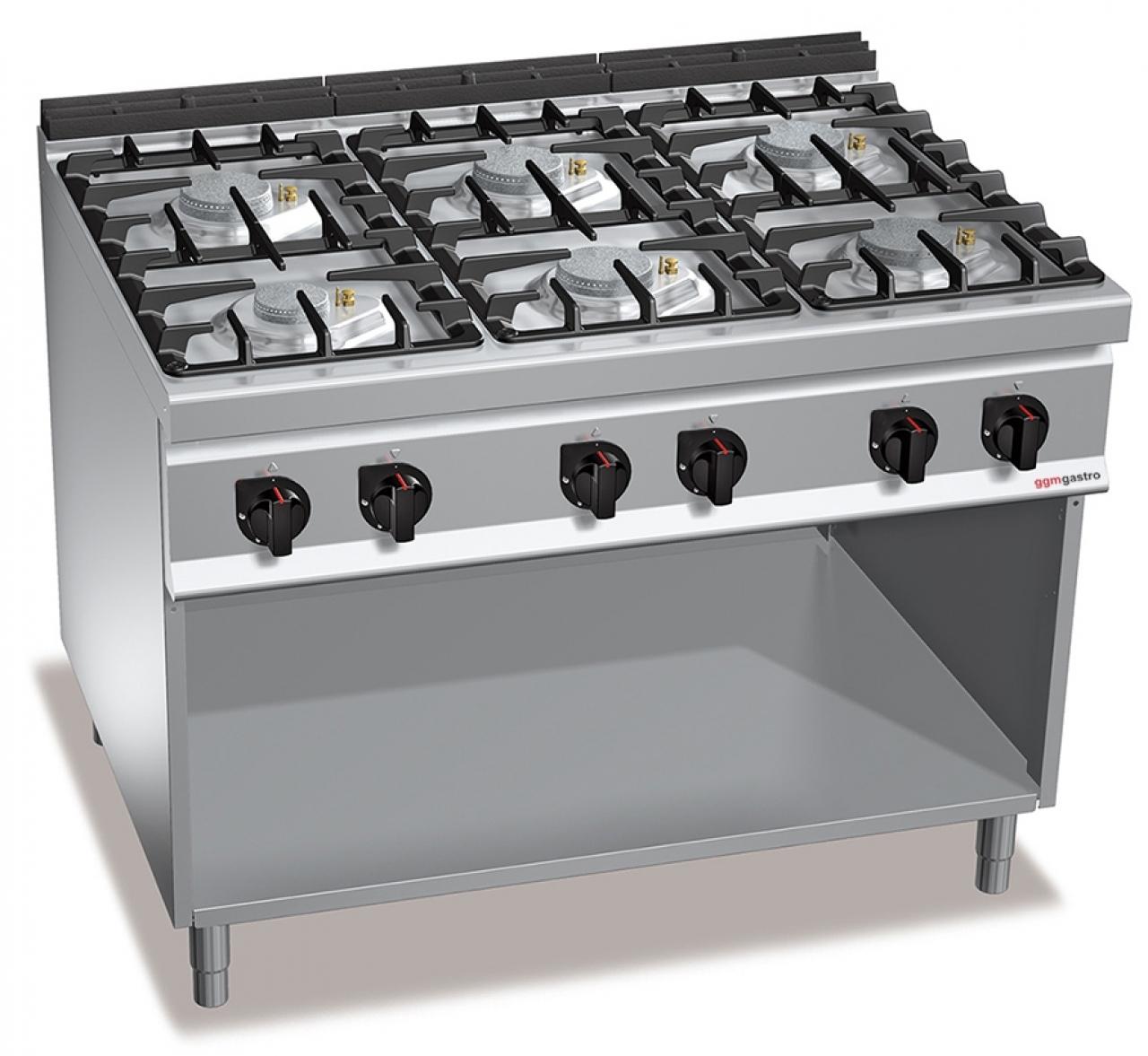 Gas stove 6x burners 48 kW