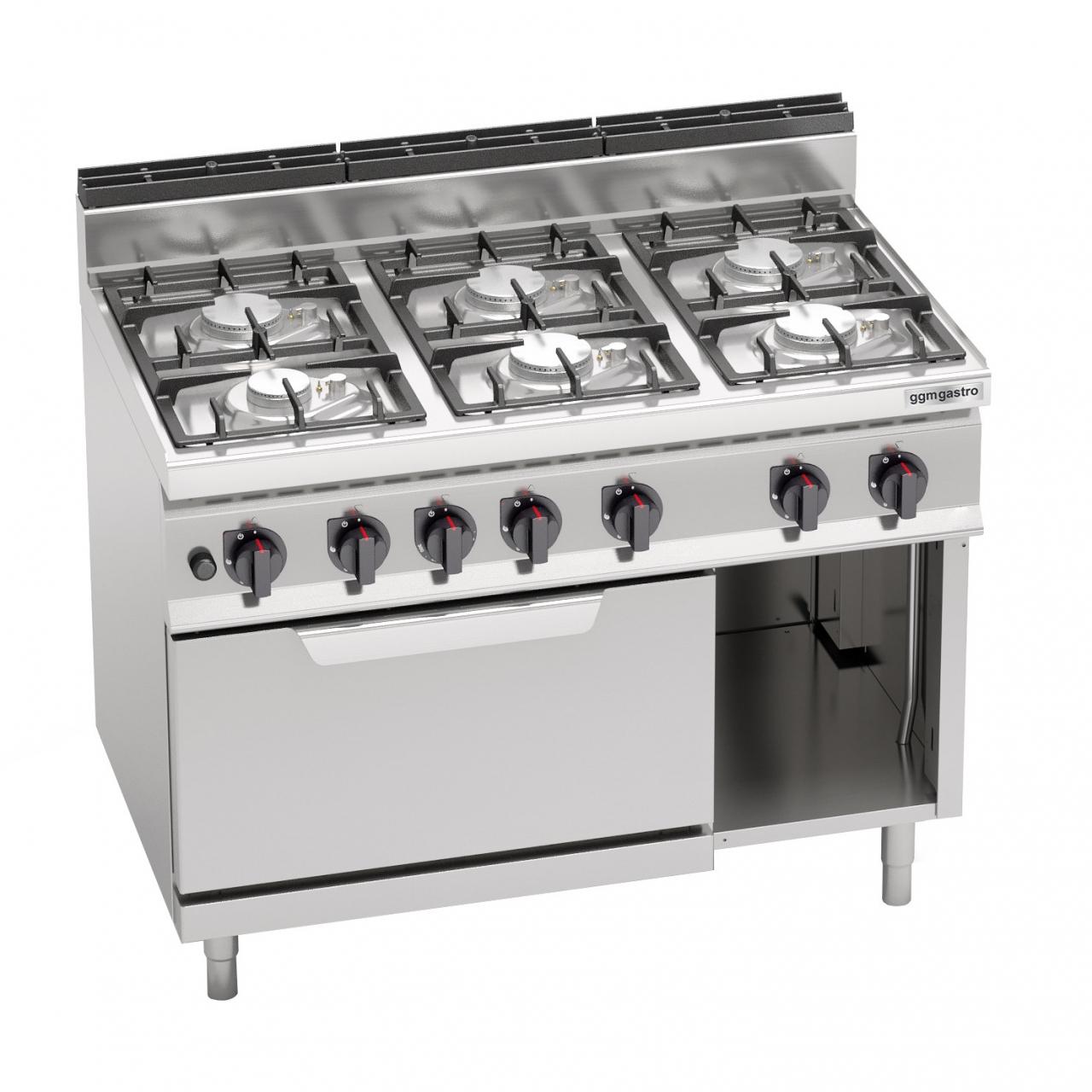 Gas stove 6 burners 33.5kW + Oven 7.8kW