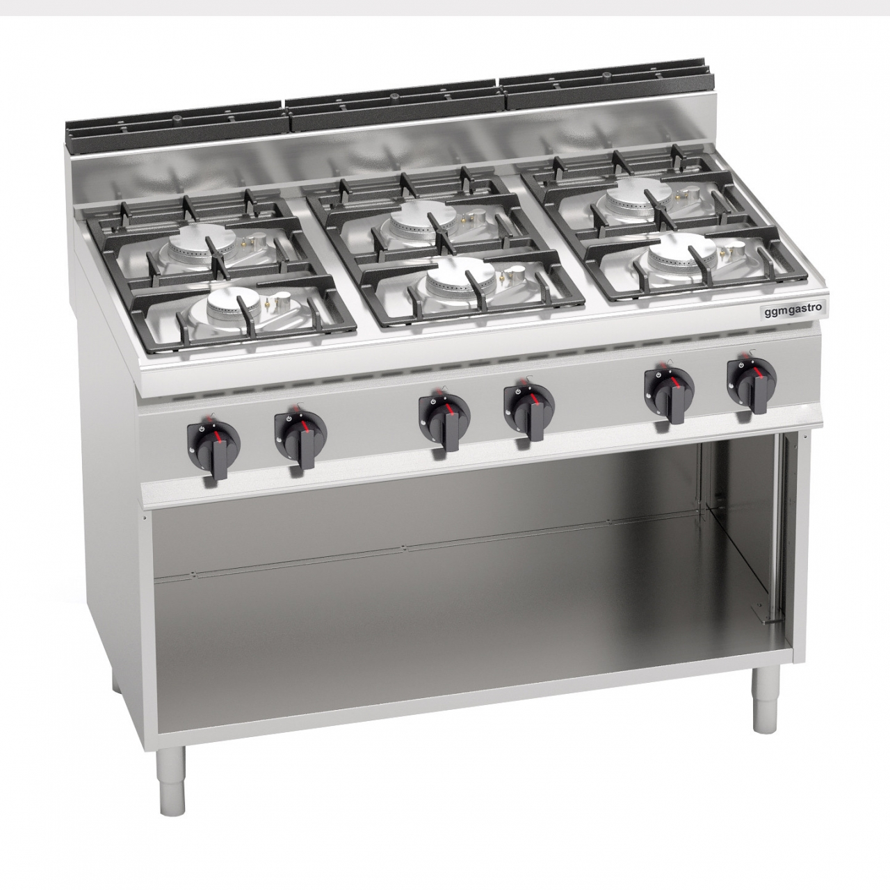 Gas stove with 6 burners 31.5 kW