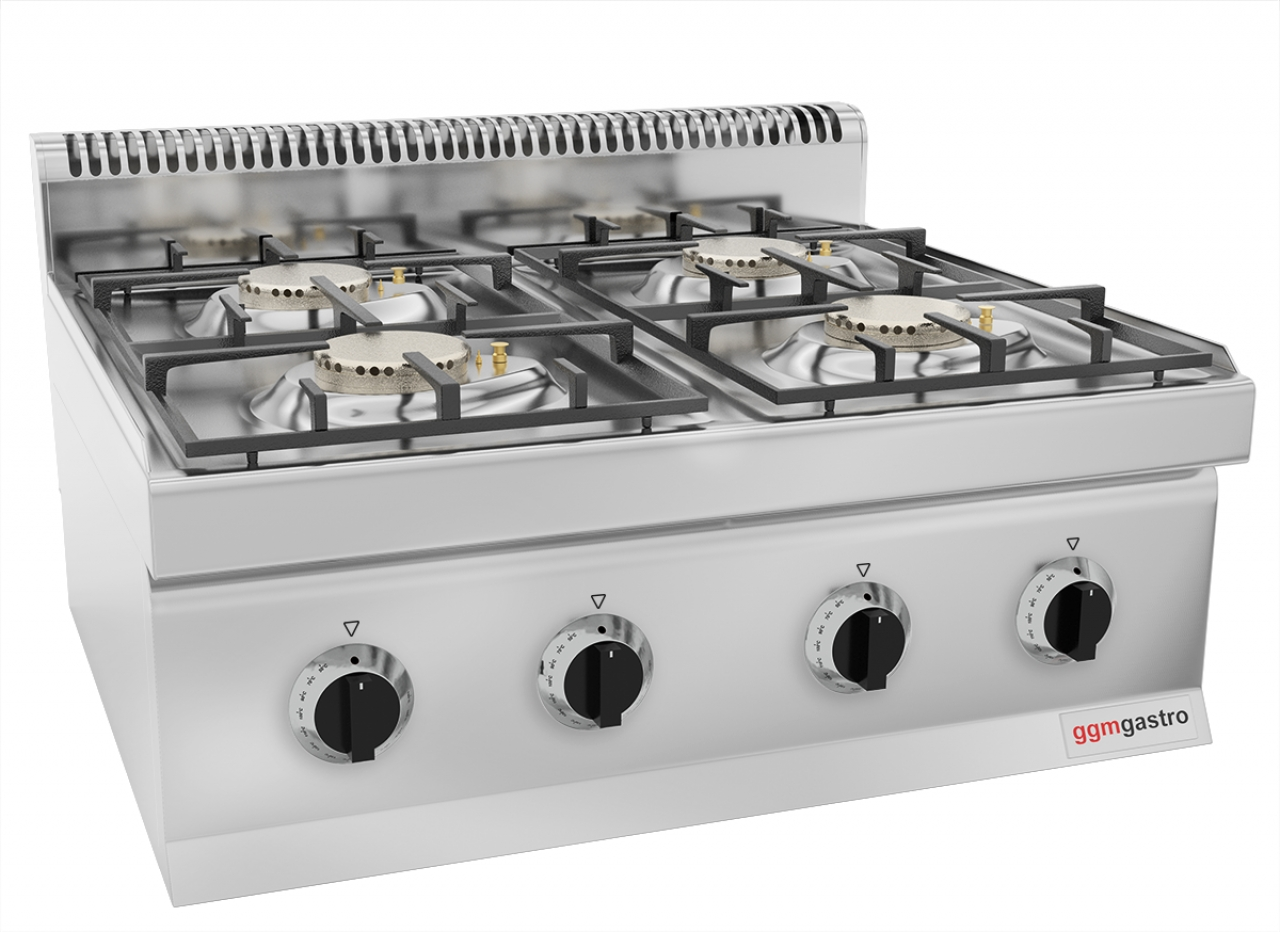 Gas stove 4 burners 25 kW electronic ignition