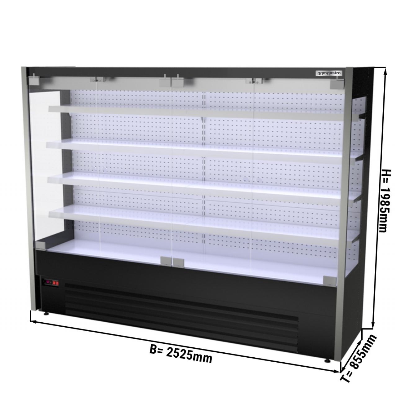 Wandkühlregal - 2,5 x 0,85 m - Schwarz - mit 4 Ablagen - 0,8 TIEF
