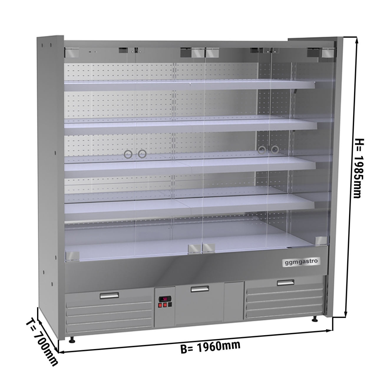 Wall cooling shelf - 2.0 x 0.7 m - with 4 shelves