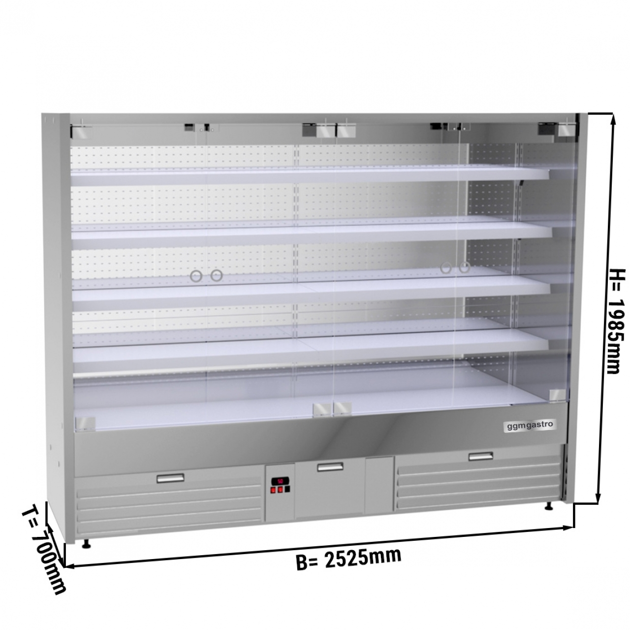 Wall cooling shelf - 2.5 x 0.7 m - with 4 shelves