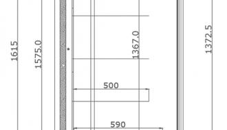 Wandkühlregal - 1,1 x 0,7 m - Schwarz - mit 4 Ablagen - 0,7 TIEF