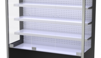 Wall cooling shelf - 1.6 x 0.7 m - black - with 4 shelves