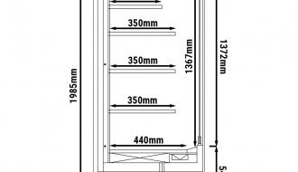 Wandkühlregal - 2,0 x 0,7 m - Schwarz - mit 4 Ablagen - 0,7 TIEF