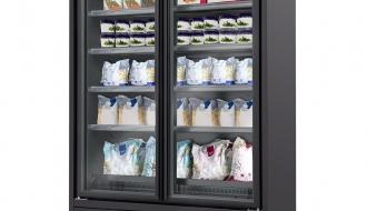 Wandtiefkühlregal - 800 Liter - mit 4 Regalböden - Schwarz