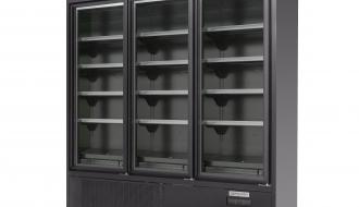 Wandtiefkühlregal - 1200 Liter - mit 4 Regalböden - Schwarz