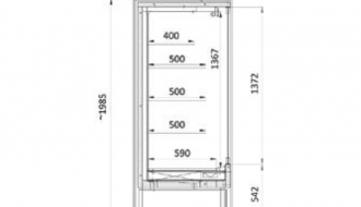 Wandkühlregal - 1,1 x 0,85 m - mit 4 Ablagen - 0,85 TIEF