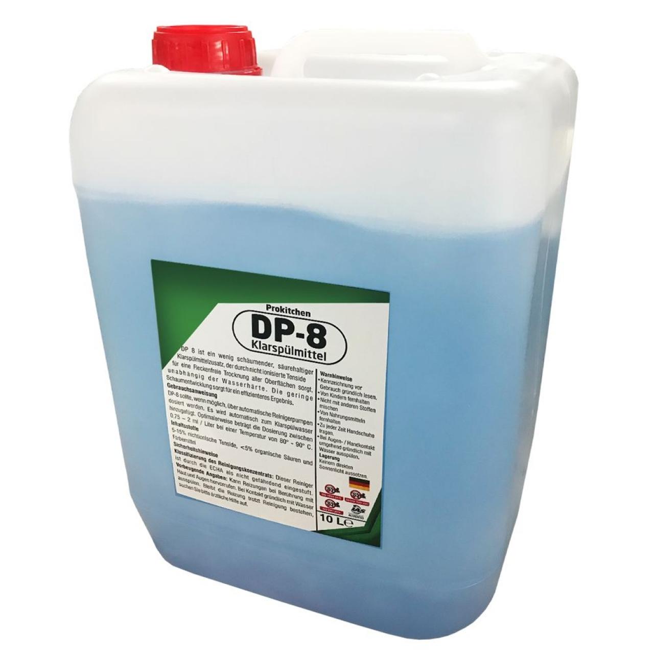 Kloorivaba loputusvahend nõudepesumasinatele (8 tk) - 10 liitrit